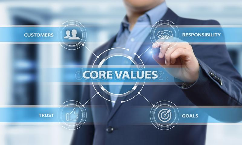 Concepto de Core Values Responsibility los Ethics Goals Company fotografía de archivo