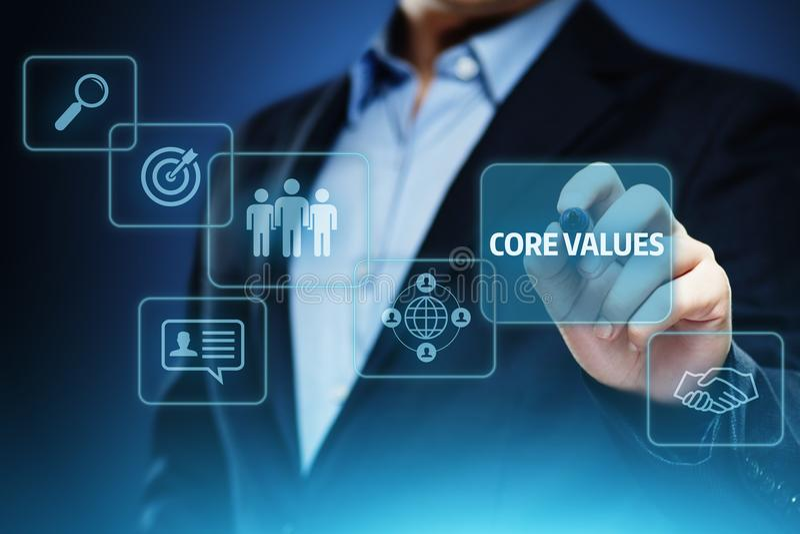 Concepto de Core Values Responsibility los Ethics Goals Company imagen de archivo