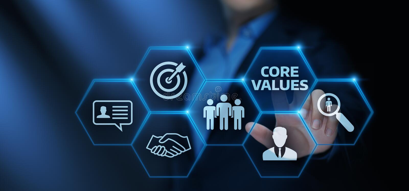 Concepto de Core Values Responsibility los Ethics Goals Company imagen de archivo libre de regalías