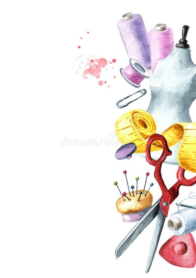 Concepto de costura Frontera Tijeras del sastre, cinta métrica, una aguja, un dedal, un carrete del hilo, maniquí, botón, tiza, p ilustración del vector