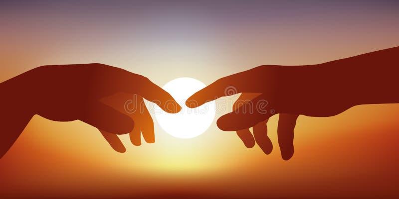 Concepto de creación y de comunicación, con las manos de Adán y de dios que entran en el contacto stock de ilustración