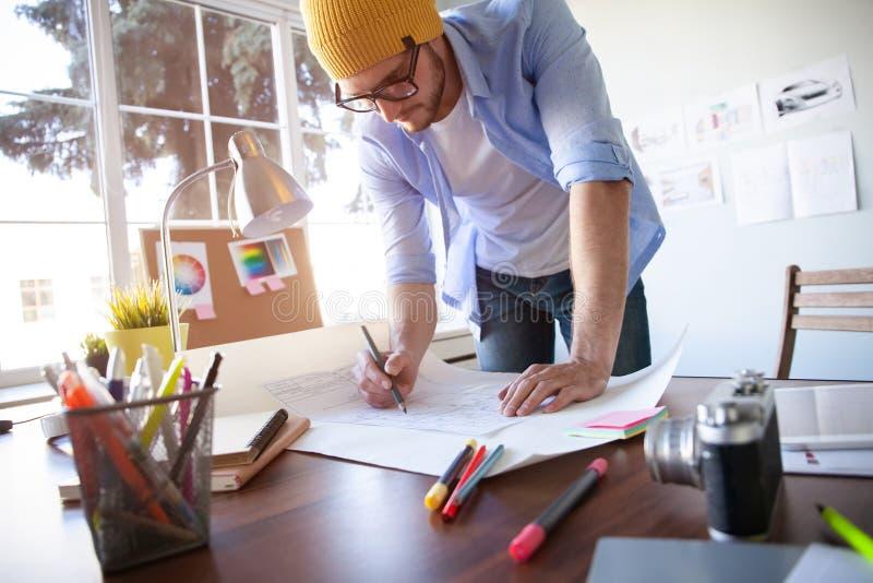 Concepto de Creative Occupation Blueprint del arquitecto del estudio del dise?o fotografía de archivo libre de regalías
