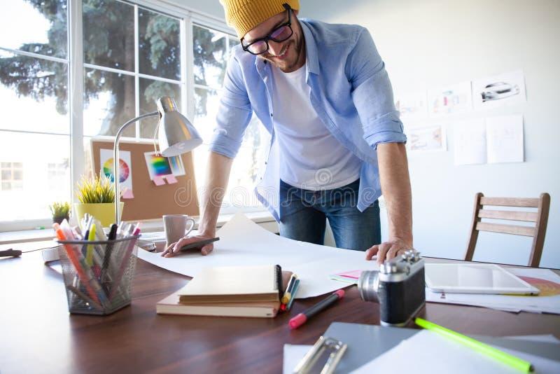 Concepto de Creative Occupation Blueprint del arquitecto del estudio del dise?o imágenes de archivo libres de regalías
