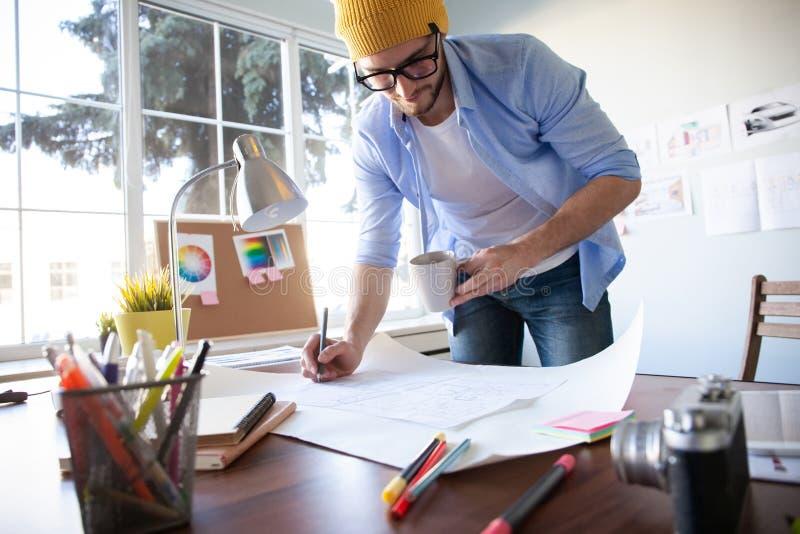 Concepto de Creative Occupation Blueprint del arquitecto del estudio del dise?o fotos de archivo libres de regalías