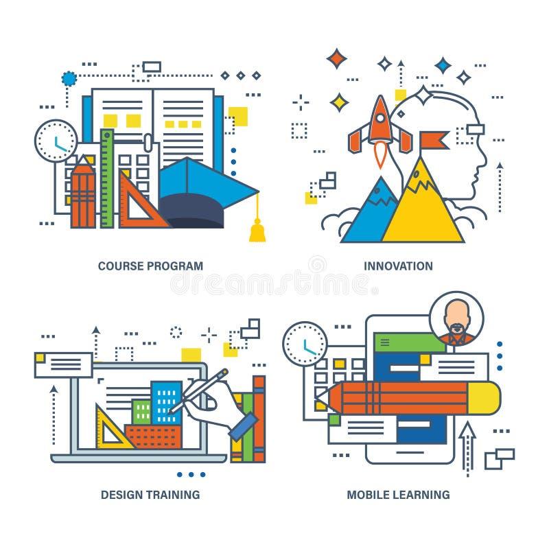 Concepto de creatividad, visión, conocimiento, generación de la idea ilustración del vector