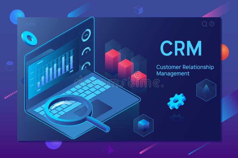 Concepto de CRM de la gestión de la relación del cliente Diseño de concepto de CRM con los elementos del vector libre illustration