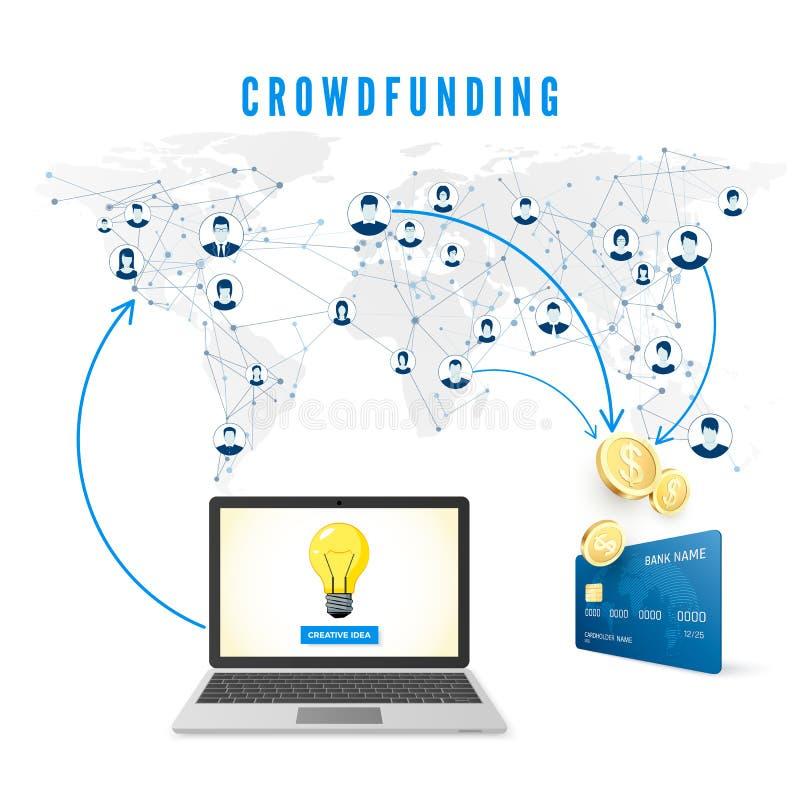 Concepto de Crowdfunding La idea es parte en la red y la gente dona el dinero para el desarrollo de proyecto libre illustration