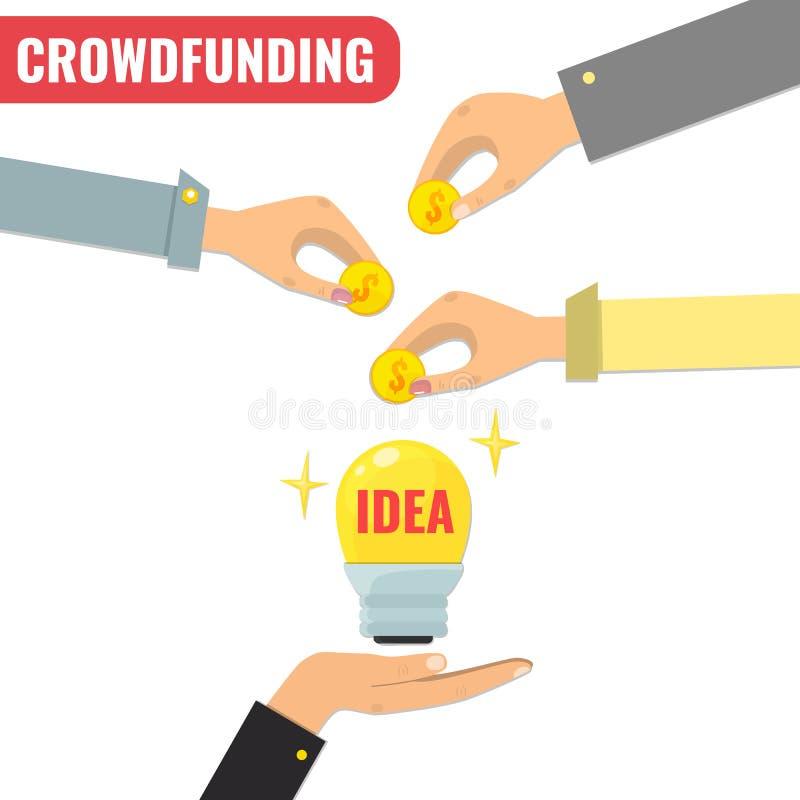 Concepto de Crowdfunding, modelo comercial para del comienzo el proyecto para arriba ilustración del vector