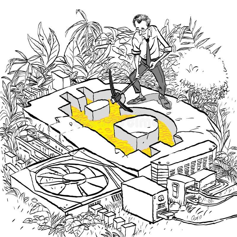 Concepto de Cryptocurrency con el minero del hombre de negocios El hombre con la pala y la piqueta que trabaja en bitcoin minan stock de ilustración
