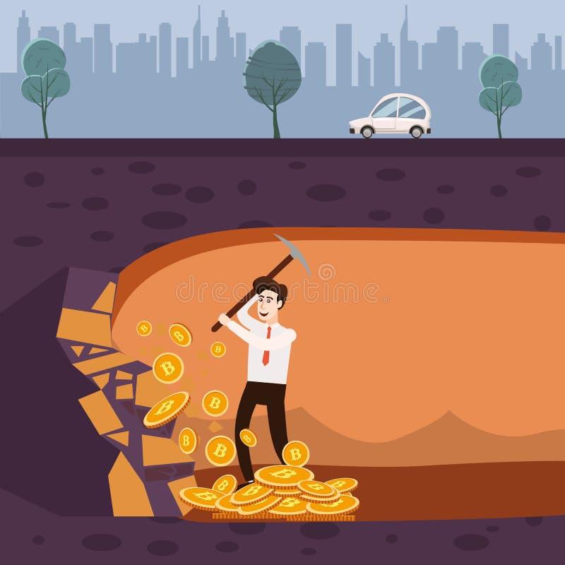 Concepto de Cryptocurrency con el minero y las monedas del hombre de negocios El hombre joven con la pala y la piqueta que trabaj ilustración del vector