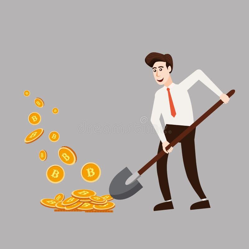 Concepto de Cryptocurrency con el minero y las monedas del hombre de negocios Hombre joven con la pala que trabaja en la mina del stock de ilustración
