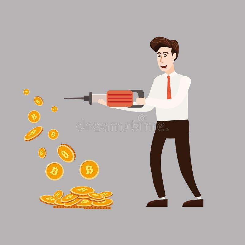 Concepto de Cryptocurrency con el minero y las monedas del hombre de negocios Hombre joven con el martillo perforador que trabaja stock de ilustración