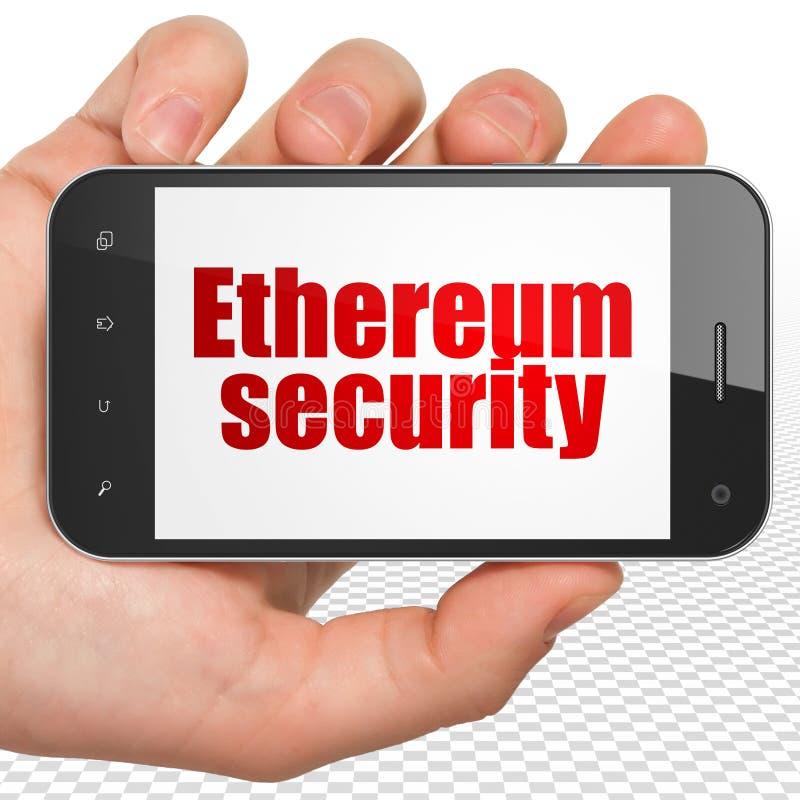 Concepto de Cryptocurrency: Dé sostener Smartphone con la seguridad de Ethereum en la exhibición ilustración del vector