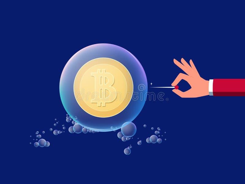 Concepto de cryptocurrency digital virtual del dinero de la inversión de riesgo Dé a controles una aguja lista para hacer estalla libre illustration