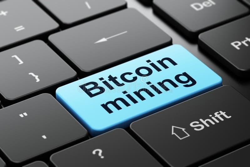 Concepto de Cryptocurrency: Explotación minera de Bitcoin en fondo del teclado de ordenador libre illustration
