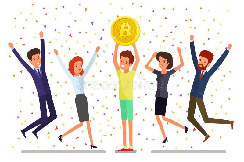 Concepto de cryptocurrency Explotación minera del hombre de negocios para encontrar bitcoins y cryptocurrency de la ganancia ilustración del vector