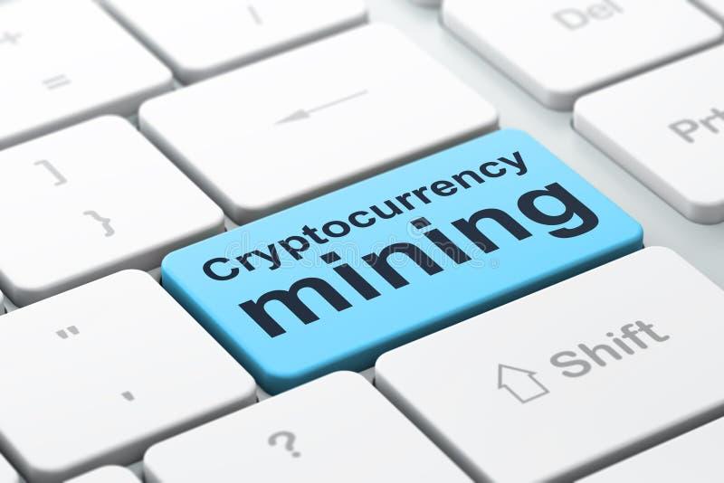 Concepto de Cryptocurrency: Explotación minera de Cryptocurrency en fondo del teclado de ordenador ilustración del vector
