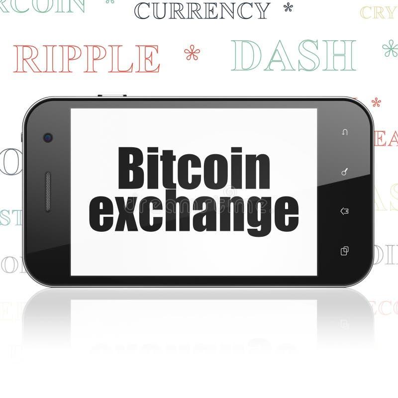 Concepto de Cryptocurrency: Smartphone con el intercambio de Bitcoin en la exhibición ilustración del vector
