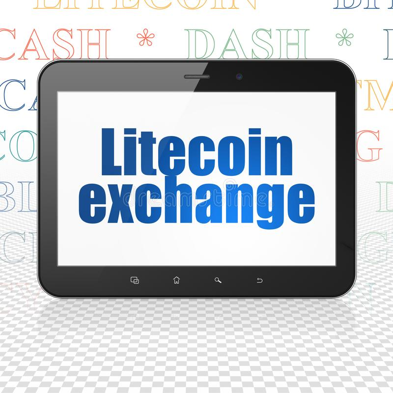 Concepto de Cryptocurrency: Tableta con el intercambio de Litecoin en la exhibición ilustración del vector