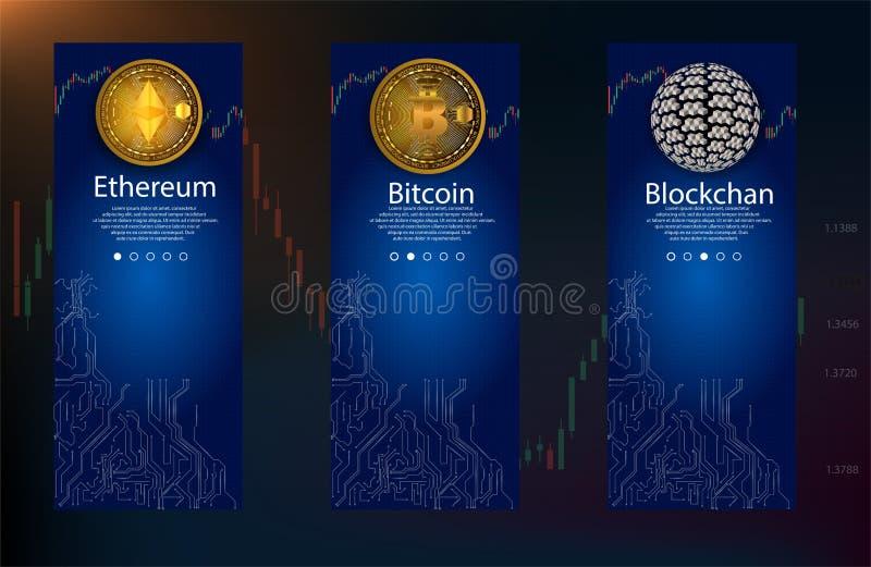 Concepto de Cryptocurrency y de Blockchain onboarding las pantallas del app El recorrido moderno y simplificado del ejemplo del v ilustración del vector