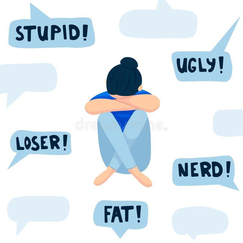 Concepto de Cyberbullying, adolescente triste delante del ordenador portátil, ejemplo plano del vector aislado en blanco stock de ilustración