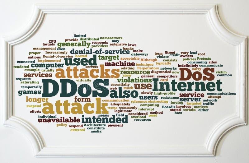 Concepto de DDOS en el tablero blanco del marco de madera fotos de archivo libres de regalías