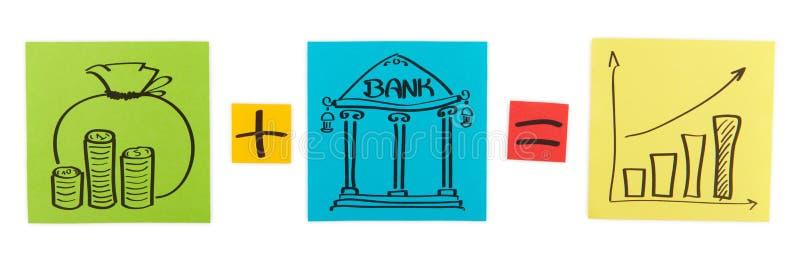 Concepto de depósito bancario. Hojas del papel coloreado. ilustración del vector