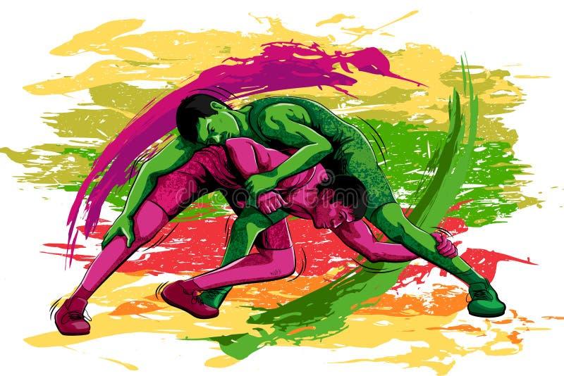 Concepto de deportista que hace que lucha libre illustration