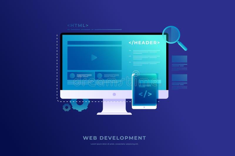 Concepto de desarrollo web, programando y cifrando Elementos del interfaz y de la ventana del vídeo en la pantalla de monitor libre illustration