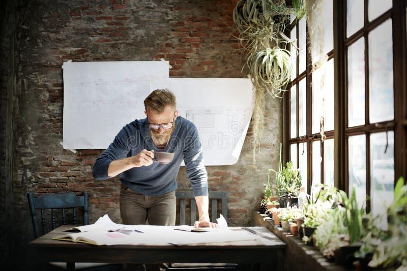 Concepto de Design Working Planning del ingeniero del arquitecto fotos de archivo libres de regalías