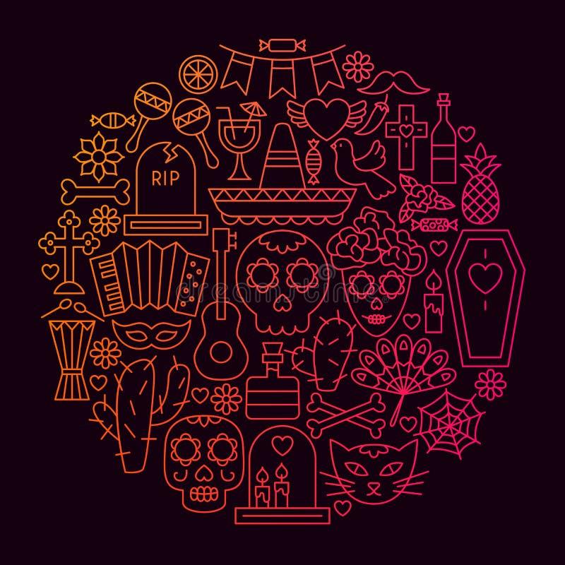 Concepto de Dia De Muertos Line Icon Circle ilustración del vector