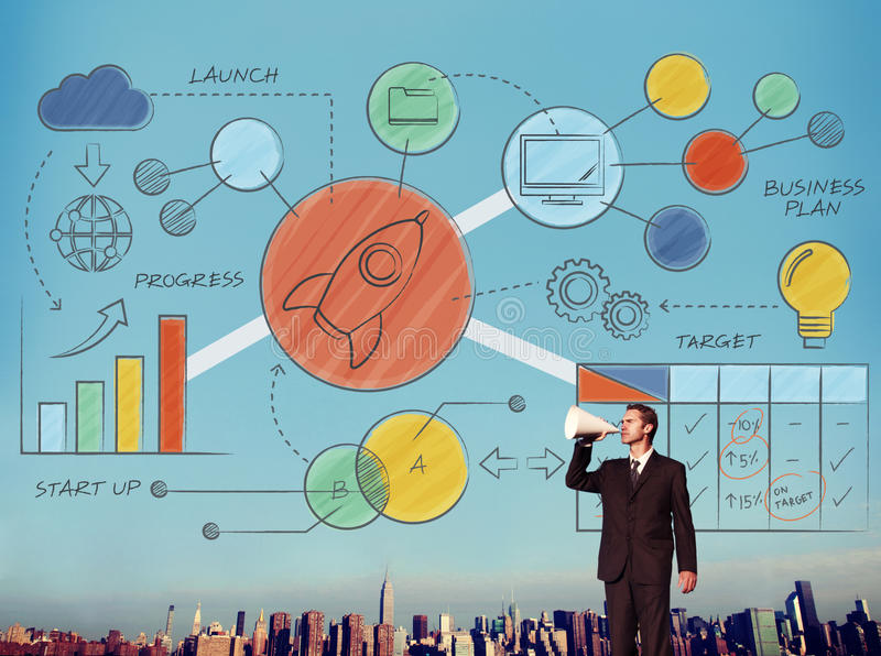 Concepto de dibujo del plan de concepción de la estrategia empresarial stock de ilustración