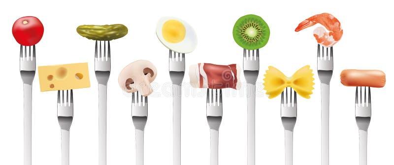 Concepto de dieta equilibrada y variada con una muestra de alimentos presentada en una bifurcación ilustración del vector