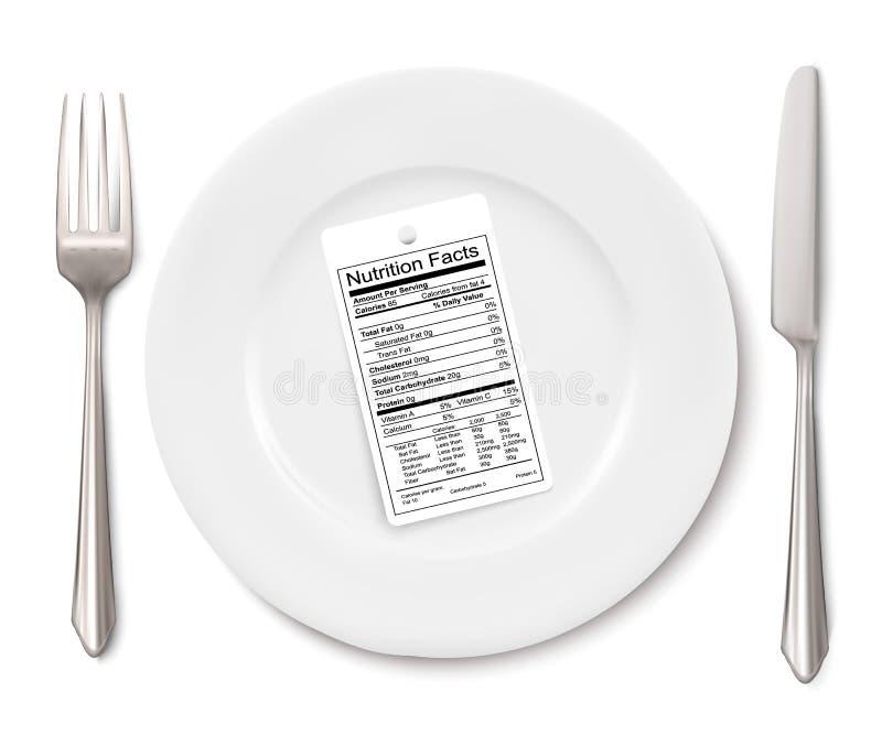 Concepto de dieta Etiqueta de los hechos de la nutrición en vez de una comida libre illustration