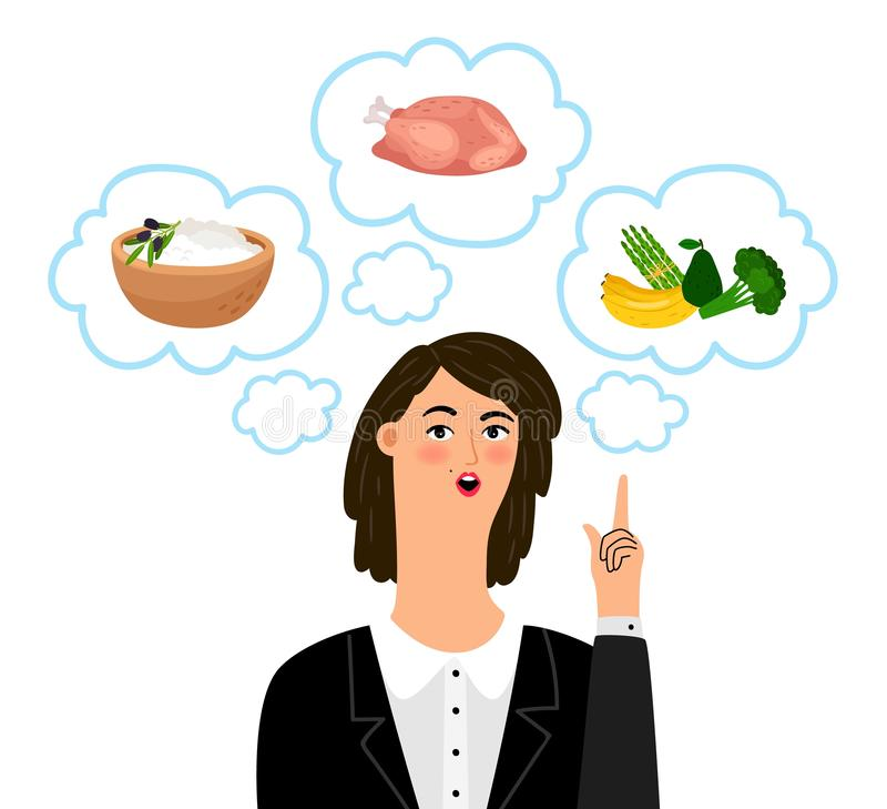Concepto de Dietology con el nutricionista de la muchacha ilustración del vector