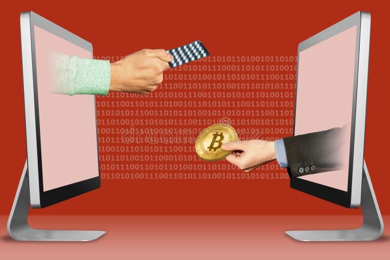 Concepto de Digitaces, dos manos de exhibiciones mano con las píldoras de la medicina y mano con el bitcoin ilustración 3D imágenes de archivo libres de regalías