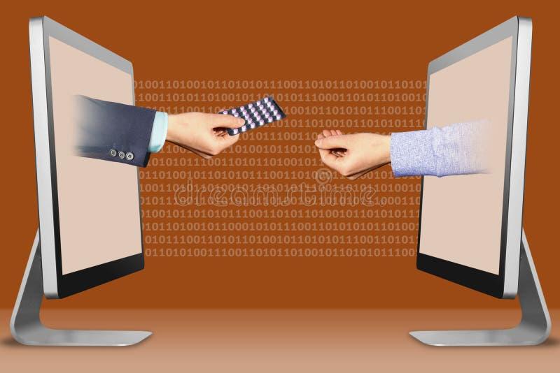 Concepto de Digitaces, dos manos de los ordenadores mano con las píldoras de la medicina y gesto el abogar por ilustración 3D imagen de archivo libre de regalías