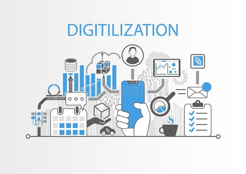 Concepto de Digitilization como ejemplo con la mano que sostiene smartphone bisel-libre stock de ilustración