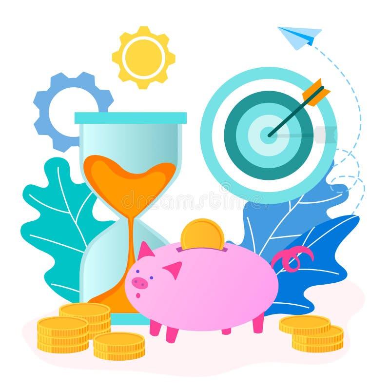 Concepto de dinero de ahorro y de tiempo ilustración del vector