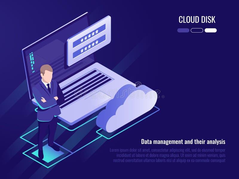 Concepto de disco y de acceso a datos de la nube, estancia del hombre de negocios en el fondo del ordenador portátil con el icono ilustración del vector