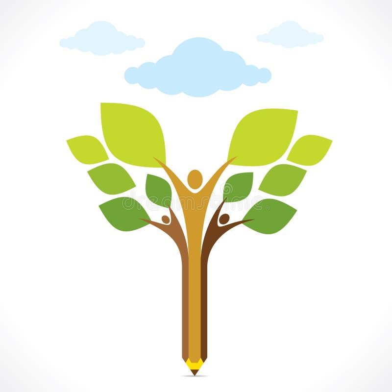 Concepto de diseño amistoso del lápiz del eco creativo ilustración del vector