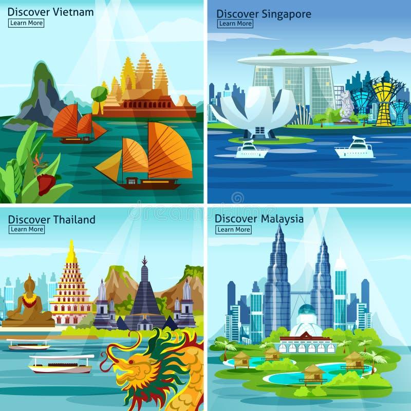 Concepto de diseño asiático del viaje 2x2 ilustración del vector