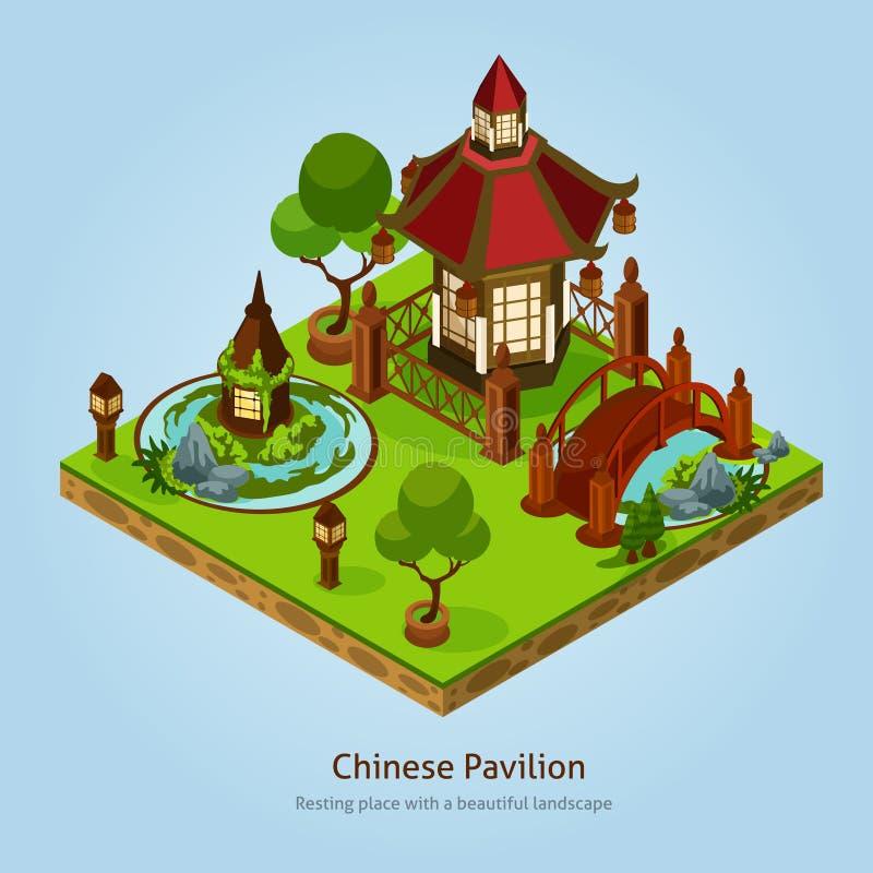 Concepto de diseño chino del paisaje del pabellón stock de ilustración