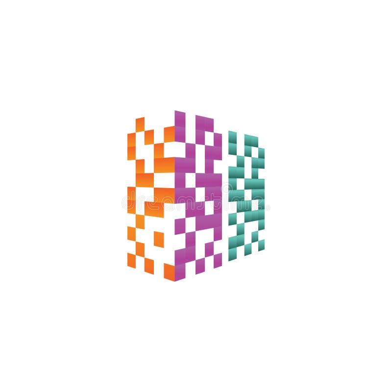 Concepto de diseño colorido del logotipo del edificio de las propiedades inmobiliarias del pixel ilustración del vector