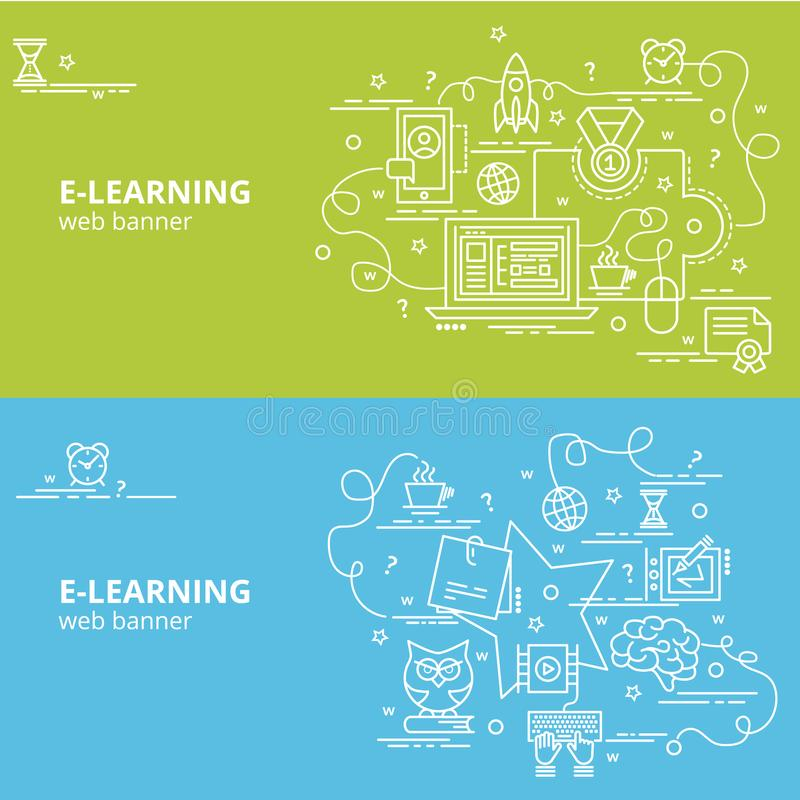 Concepto de diseño colorido plano para el aprendizaje electrónico stock de ilustración