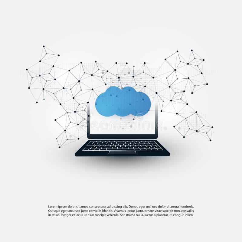 Concepto de diseño computacional de la nube con Wireframe y el ordenador portátil - conexiones de red de Digitaces, fondo de la t ilustración del vector