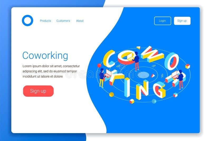 Concepto de diseño de Coworking stock de ilustración