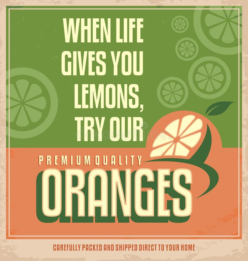 Concepto de diseño creativo retro anaranjado del cartel stock de ilustración