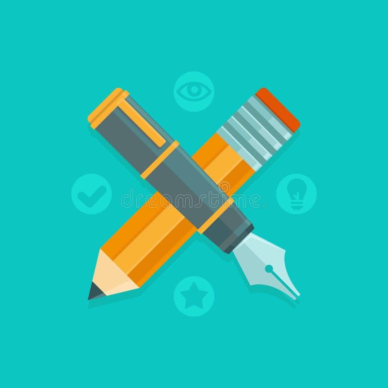 Concepto de diseño de gráfico de vector - pluma y lápiz ilustración del vector