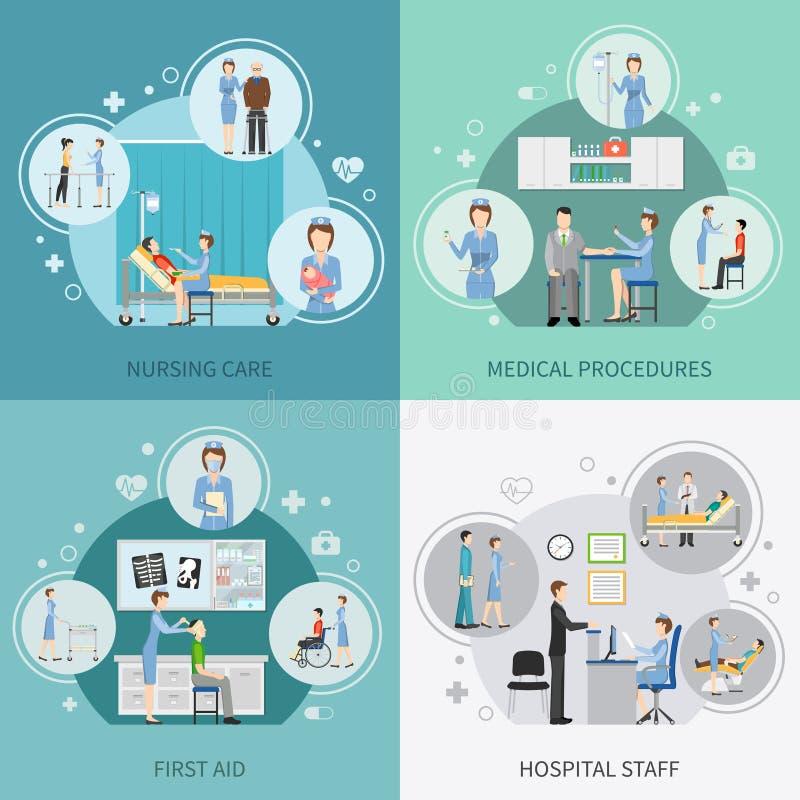 Concepto de diseño de la atención sanitaria 2x2 de la enfermera stock de ilustración